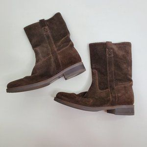 J Crew Brewster Boots 6.5 Suede Brown Booties Mid